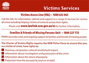 Victims Card back